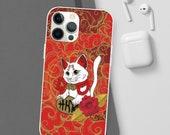 Lucky cat money coming cat Maneki Neko feng shui cat mom dad Kawaii Flexi Case for Iphone 12 11 Pro Max 8 Perfect gift for cat lover