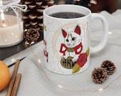 Lucky cat money coming cat fortune Maneki Neko feng shui cat mom dad Mug 11oz perfect gift for cat lover