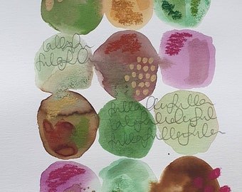 """A4 Watercolour painting. Inks.  Pastels. Abstract. Wallart. Modern. Interior Design.  Gift.Colourful. Green.Brown. Pink. """"Autumn Berries"""""""