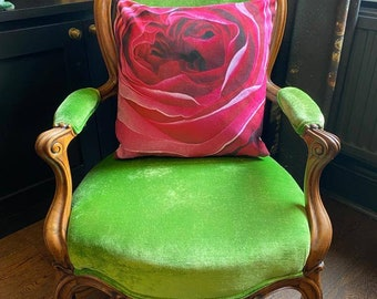 Shocking Pink Rose. Contemporary Interior design.Gift. Abstract funky luxury faux suede cushion. Interior Design.Lifestyle.Home.