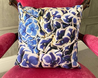 Blue & White Hydrangeas. Contemporary Interior design.Gift. Abstract funky luxury faux suede accent cushion.Interior Design.Lifestyle. Home.