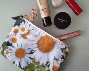 Pouch.Clutch.Cosmetic bag. Pencil case. Small handbag. Toiletry bag. Make up bag. Phone pouch. White&Yellow Daisies flower.Gift. Accessories
