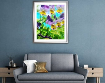 Distorted pansy blur. Abstract photo print wall art. Gift. Interior Design. Lifestyle. Home.