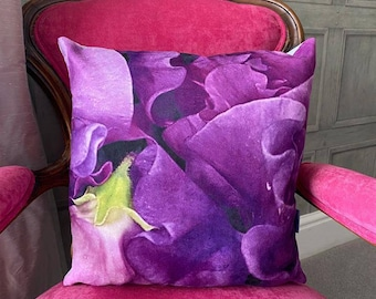 Purple Sweet Peas. Contemporary Interior design.Gift. Abstract funky luxury faux suede accent cushion. Interior Design.Lifestyle. Home.