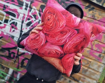 Peachy Pink Rununcula. Contemporary Interior design.Gift. Abstract funky luxury faux suede accent cushion. Interior Design.Lifestyle. Home.