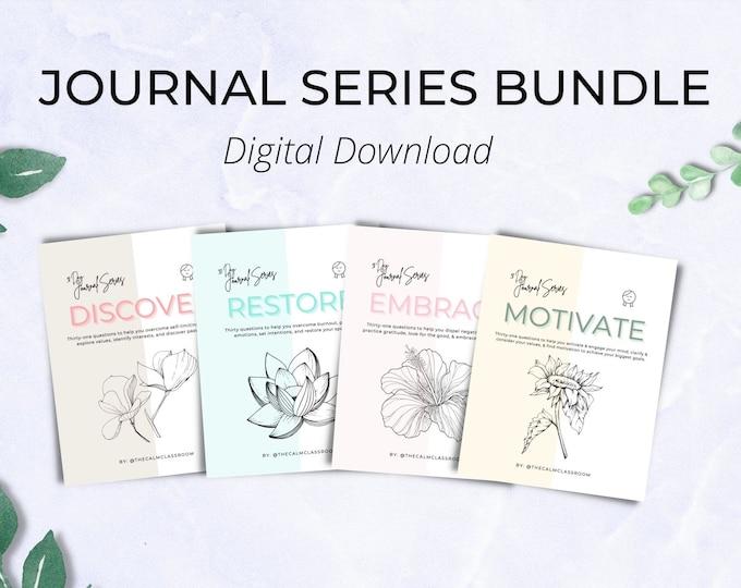 Journal Series Bundle (DIGITAL DOWNLOAD) - Discover, Restore, Embrace, & Motivate (100+ Prompts)