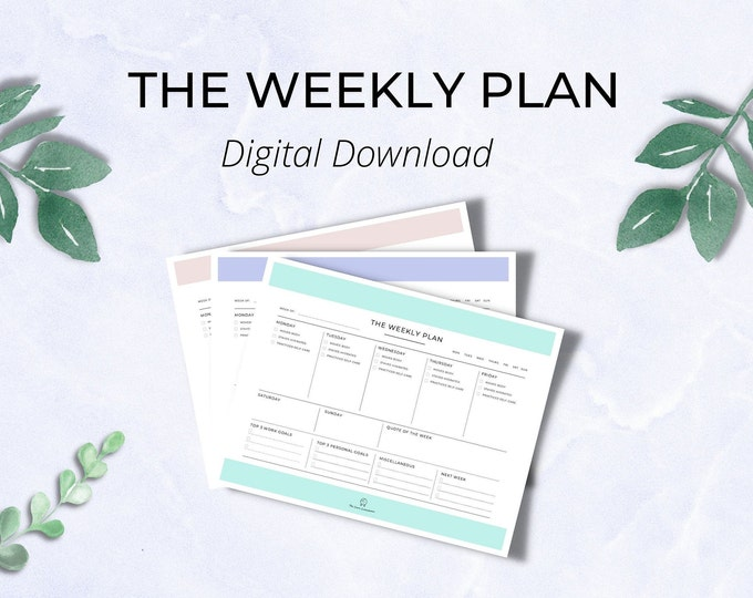 The Weekly Plan (DIGITAL DOWNLOAD - Printable & Fillable Versions Included)