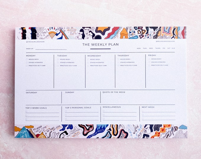 The Weekly Plan (8.5 in. x 5.5 in. Planning Notepad w/ 50 Sheets - Limited Collaboration w/ MeganJamesDesigns)