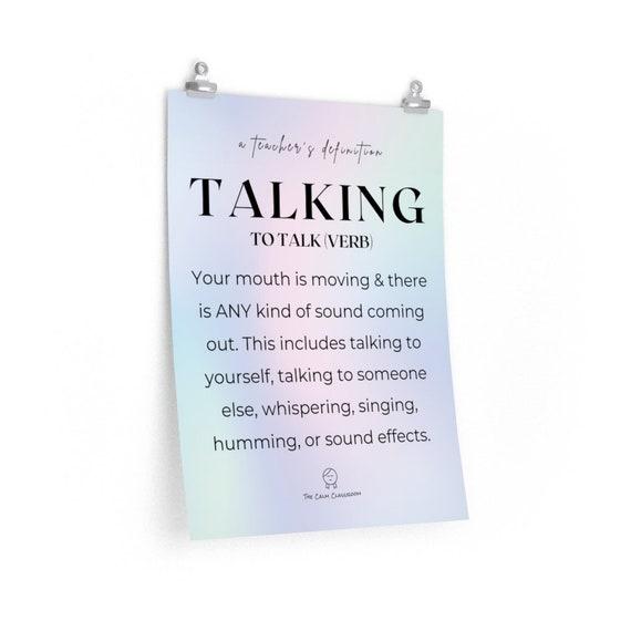 Talking: A Teacher's Definition Poster