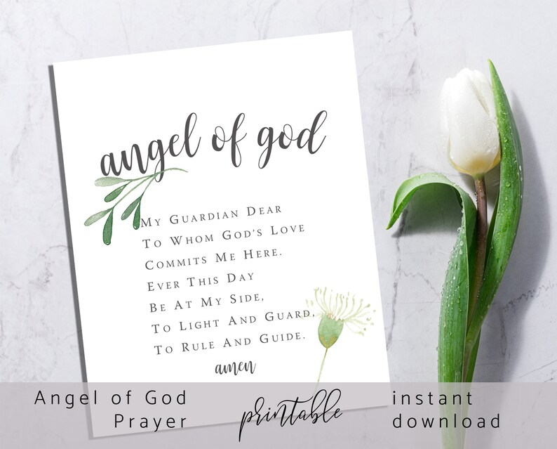 Angel of God Prayer Printable  I  Guardian Angel Prayer  I image 1