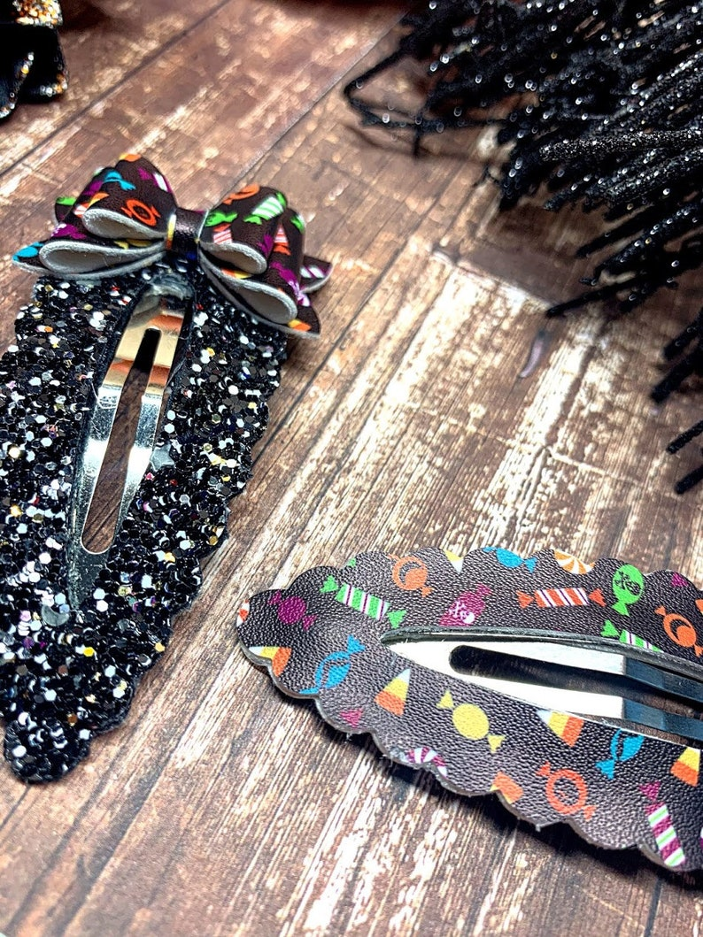 GLOW Halloween Candy Snap Clip Set  Halloween Faux Leather Snap Clip  Halloween Candy Mini Bow Snap Clip Set