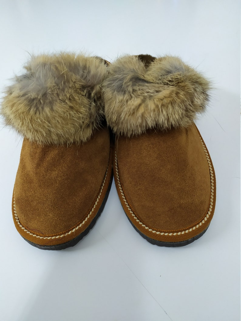 Woman/'s Fur slippers sheepskin Brown colour with Rabbit stripe details Gift for women.