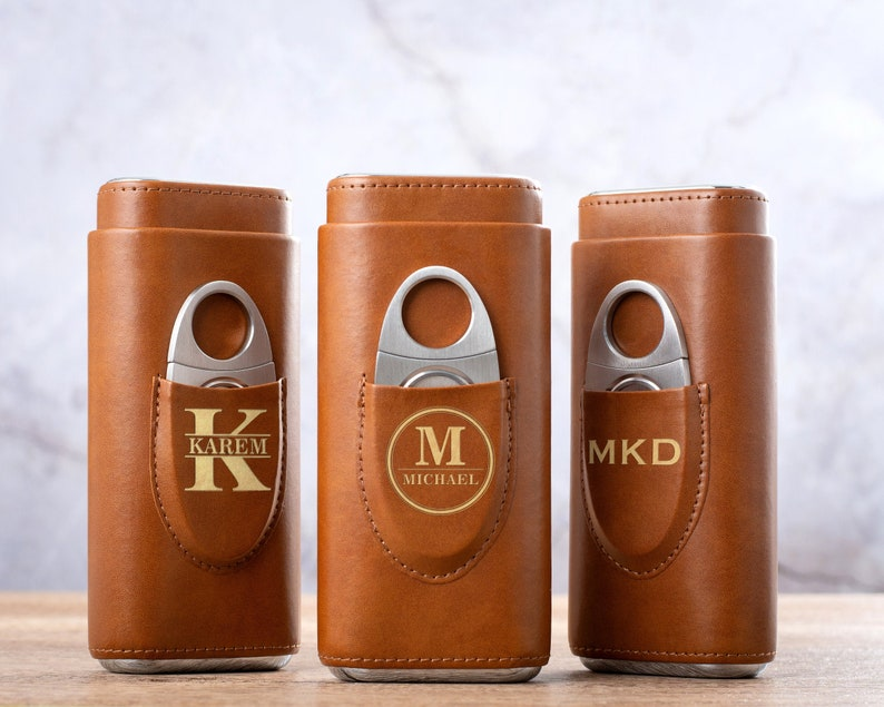 Personalized Cigar Case with Cutter