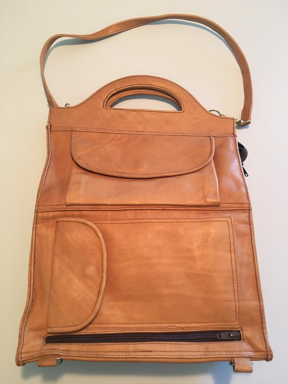 Vintage real leather folding shoulder bag