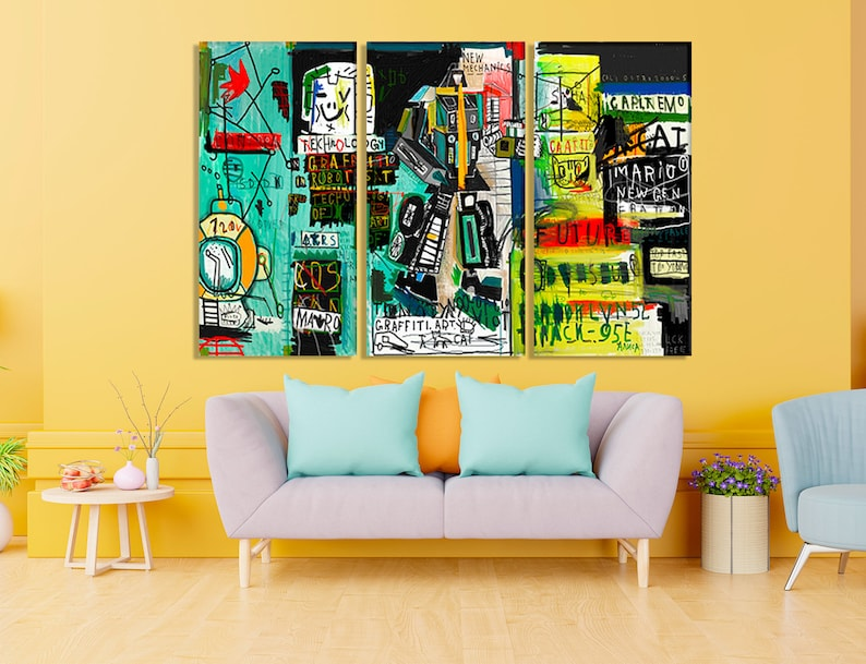 Urban contemporary culture Canvas painting wall art Home decor print Street art graffiti painting Abstract creative drawing fashion colors