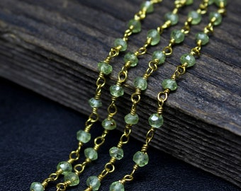 Wire Wrapped Chain 3.5mm Necklace Jewelry Finding Chain Peridot Silver Coated Hydro Faceted Rondelle Beaded Rosary Chain silver Plated Wire