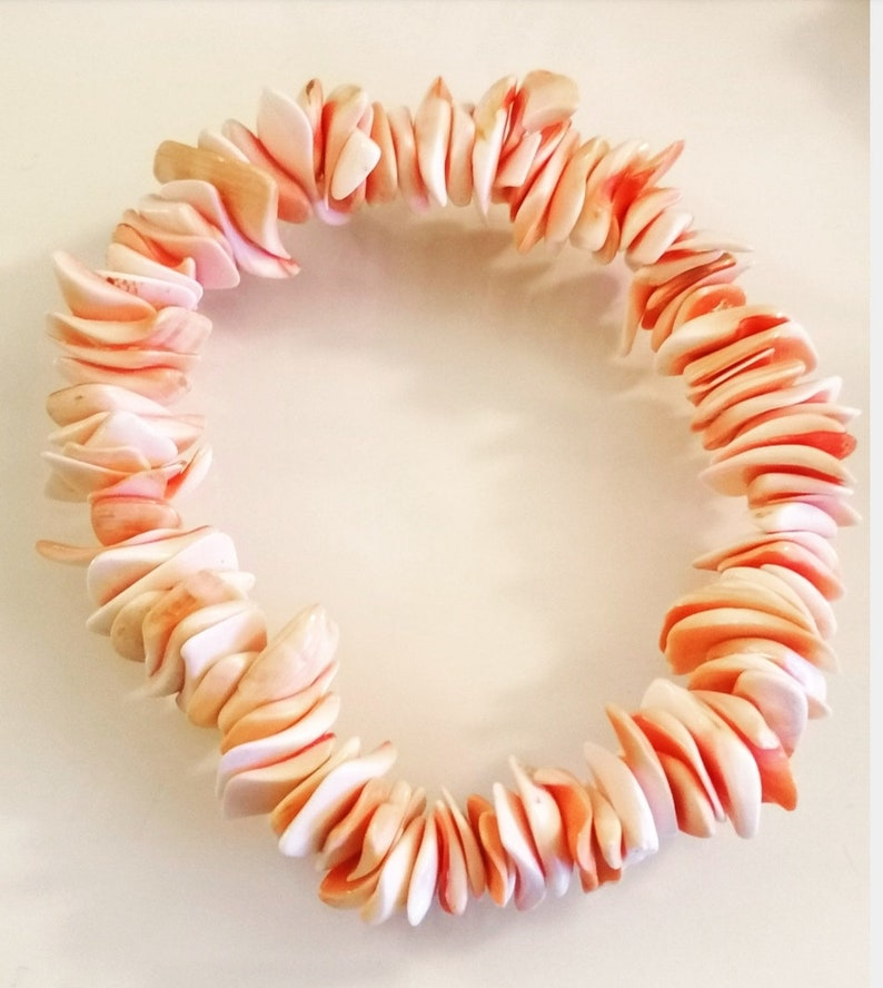 SUMMER SALE Rose  Pink shells petals Hawaian style ankle bracelet elasticated