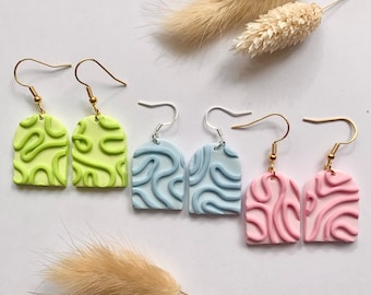 Gold Squiggly Handmade Clay Earrings