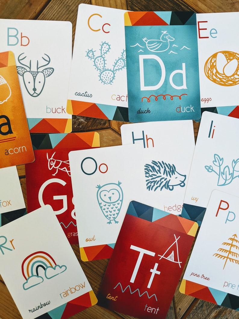 Set of 26 Woodland Outdoor Themed Alphabet Decorative Flashcards Camping