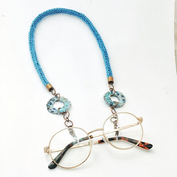 Mid Blue, Turquoise & Aqua Spectacle/ Glasses Necklace Chain
