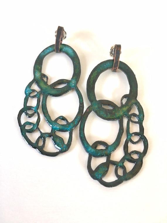 Large Teal Green Quay Chain Enamel Drop Earrings