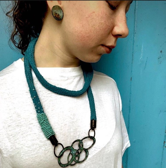 Maritima Collection - Turquoise Beaded Knitted Cotton Rope Lariat Style Necklace with Glass Enamel Chain Motif Pendant. One of a kind.