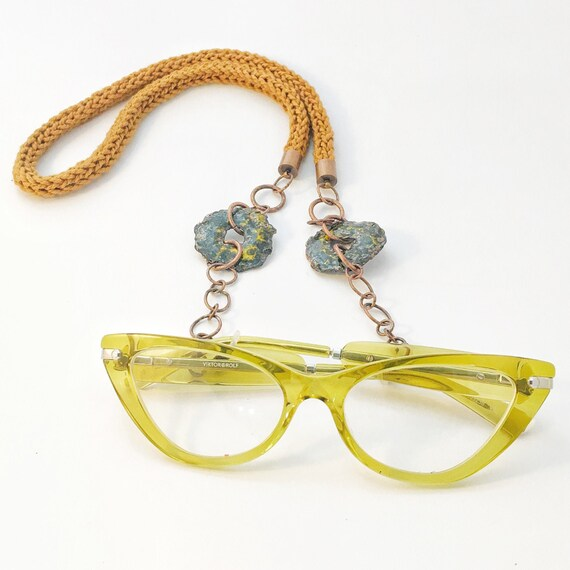 Toffee, Black, Yellow & Lilac Spectacle/ Glasses Necklace Chain
