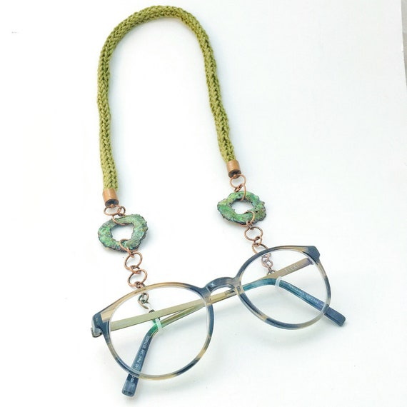 Olive & Grass Green Spectacle/ Glasses Necklace Chain