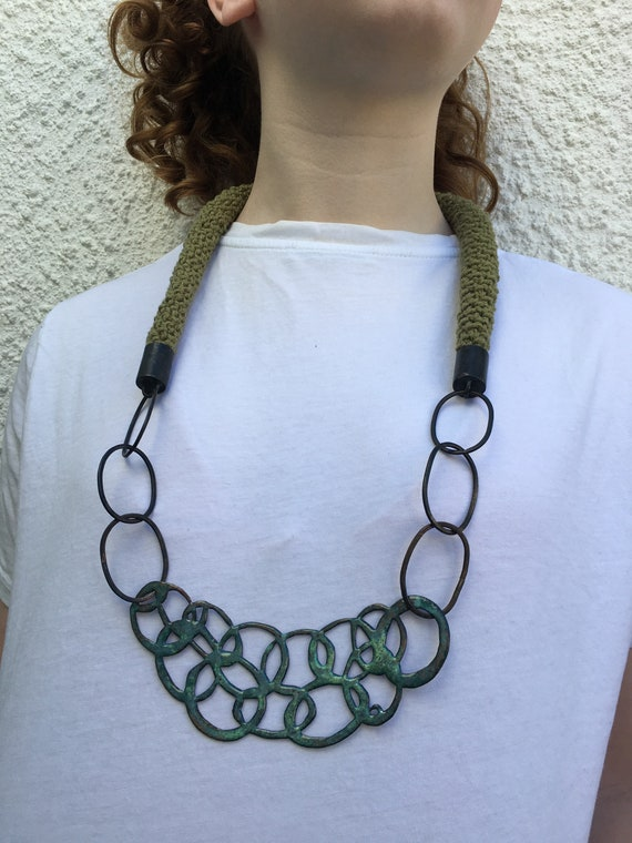 Maritima Collection - Khaki Green Chunky Crochet Rope Necklace with Enamel Chain Motif Pendant and oxidised copper chain. One of a kind.