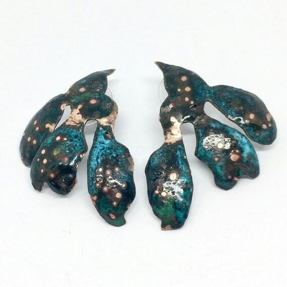 Dark Teal Green Statement Seaweed Stud Enamel Earrings