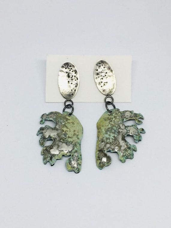 Statement Frilly Seaweed Drop Silver Enamel Earrings