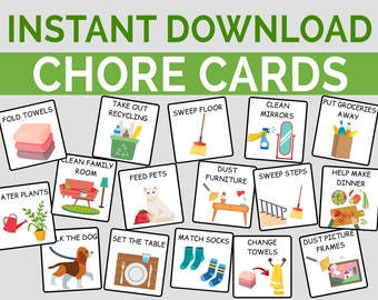 Kids Chore Cards I Printable Toddler, Preschool & Family Chores, Instant Download