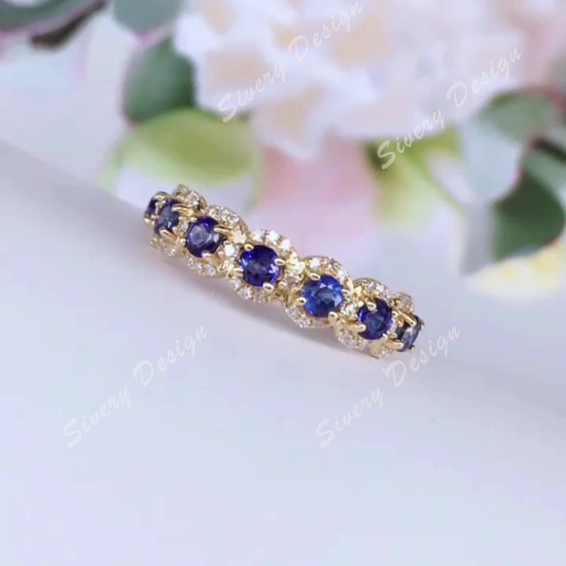 3mm Round Cut Sapphire Engagement Ring Pave Set Cluster Wedding Ring for Women Antique Jewelry Anniversary gift Bridal Ring Antique Ring