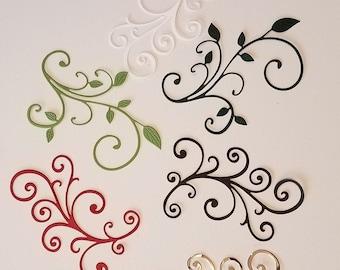 flower vines die cut card embellishments x 12 Scrolled