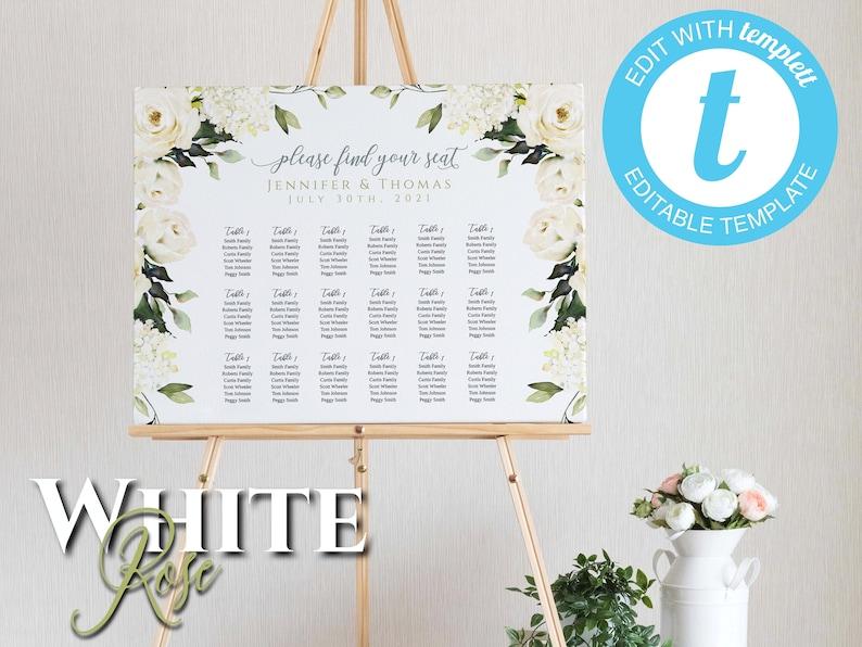 Editable via Templett App 3 editable templates included White Rose Wedding Seating Chart