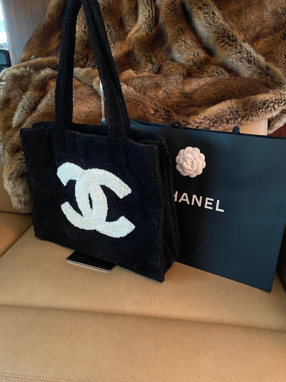 Vintage Chanel Terry Cloth HUGE Logo Tote