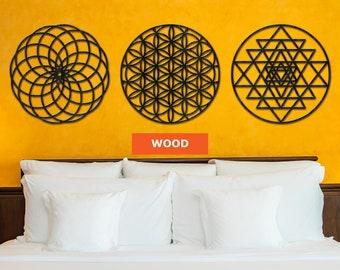 Sacred geometry wall set, Wooden wall art 3 piece,Sacred geometry wall art,Wooden wall art india,Sri yantra wall art,Flower of life wall art