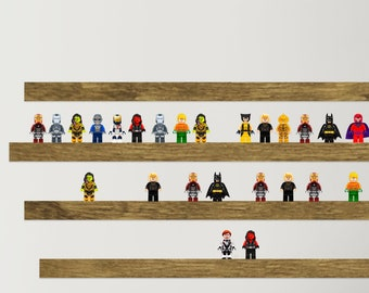 Minifigure display, Wall display for small toys, Minifigure wall display, Minifigure shelf, Floating Wall Shelf for Block Minifigures