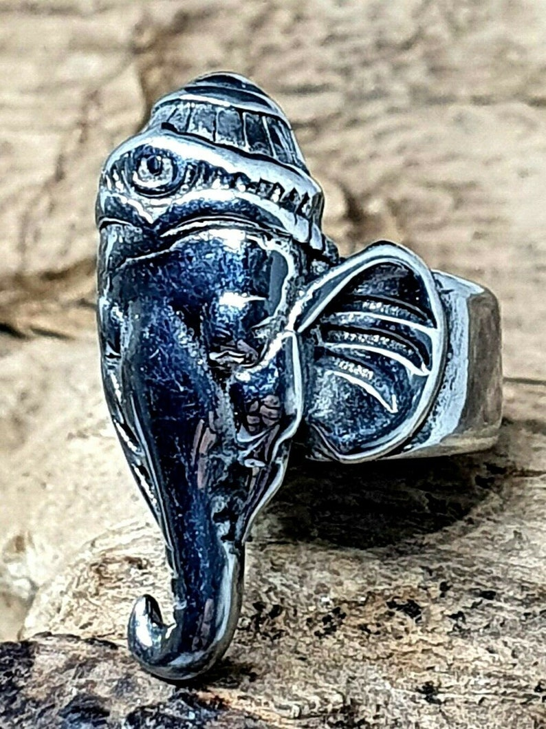 Elephant Hindu Dreadlock Bead Dread Hair Braid Beard Bead 8.5mm Hole Stainless Steel Bead Ganesha Ganesh Not Alloy Real Steel
