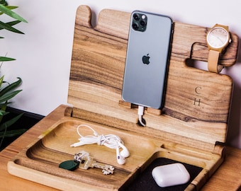 Fathers day gift docking station, Dock station for dad,Fathers day charging station,Wooden docking station personalized,Nightstand organizer