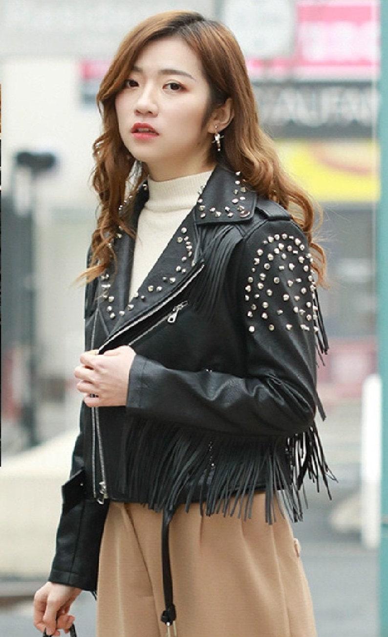 Handmade Black Color Fringes Studded Cow Skin Leather Epaulets Women Belted Punk Fashion Jacket