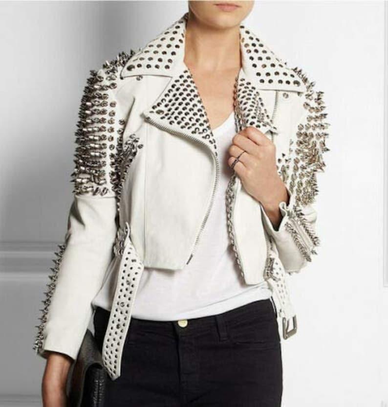Handmade Women Studded Conical Spike Studs Leather Jacket