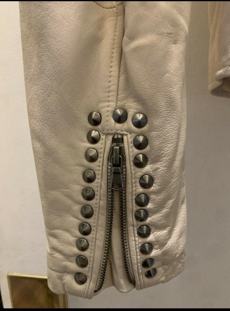 Made To Order Cone Studded Bikers Genuine Sheep Skin Leather Women Handmade Zippered Epaulets Fashion Punk Jacket