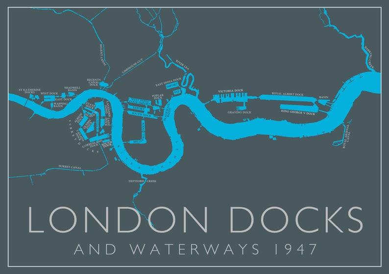 London docks and waterways circa 1947  detailed poster art image 0