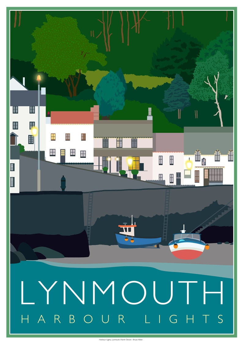 Lynmouth Harbour Lights poster Exmoor Devon. image 0