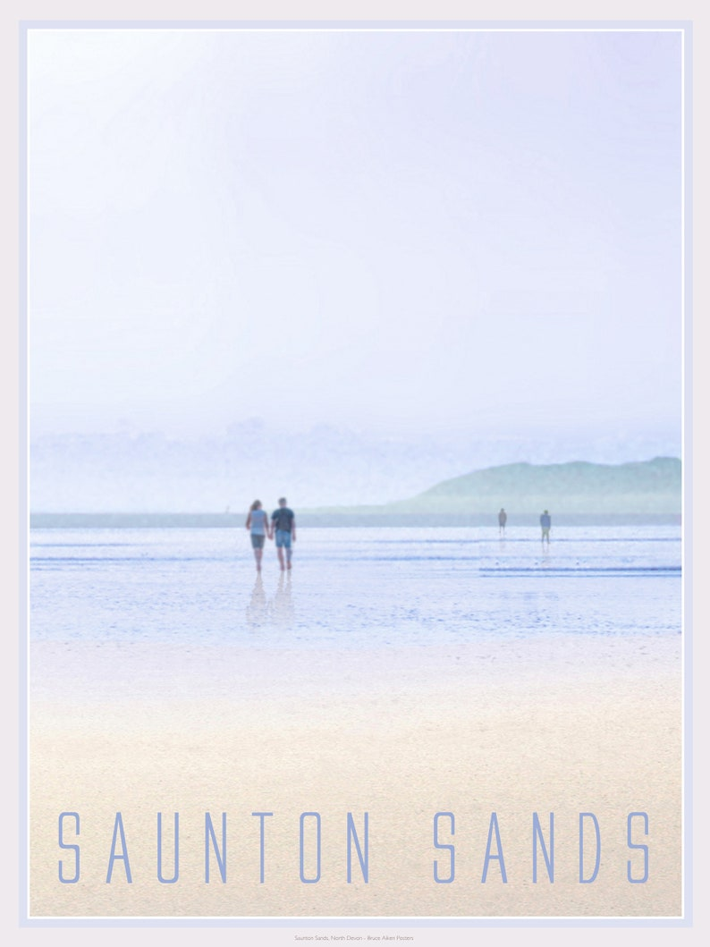 Saunton Sands beach North Devon  contemporary poster art of image 0