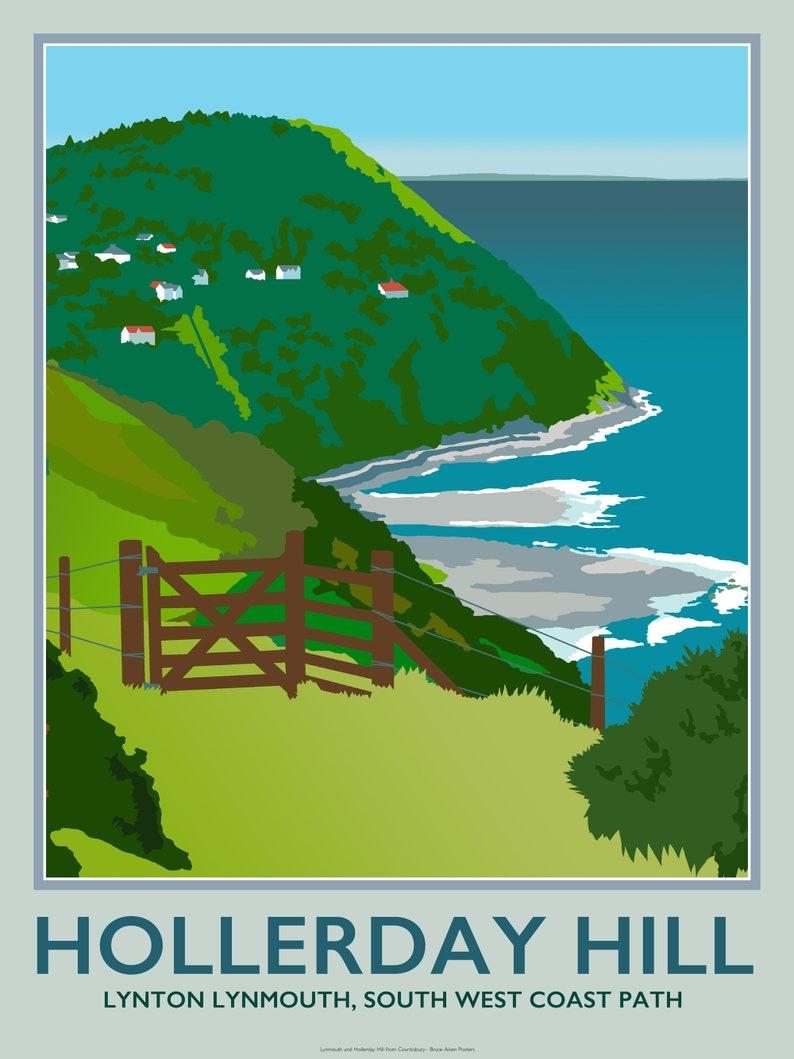Lynmouth and Hollerday Hill Exmoor North Devon  poster art image 0