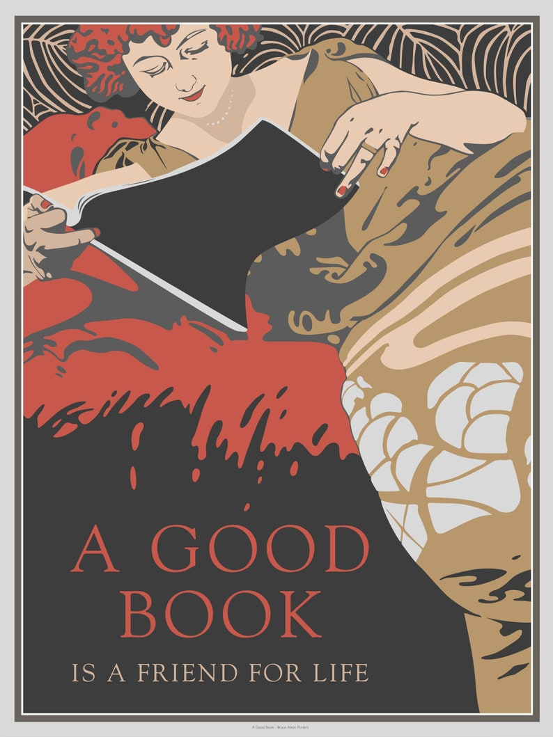 A Good Book is a friend for life  poster in the art deco or image 0