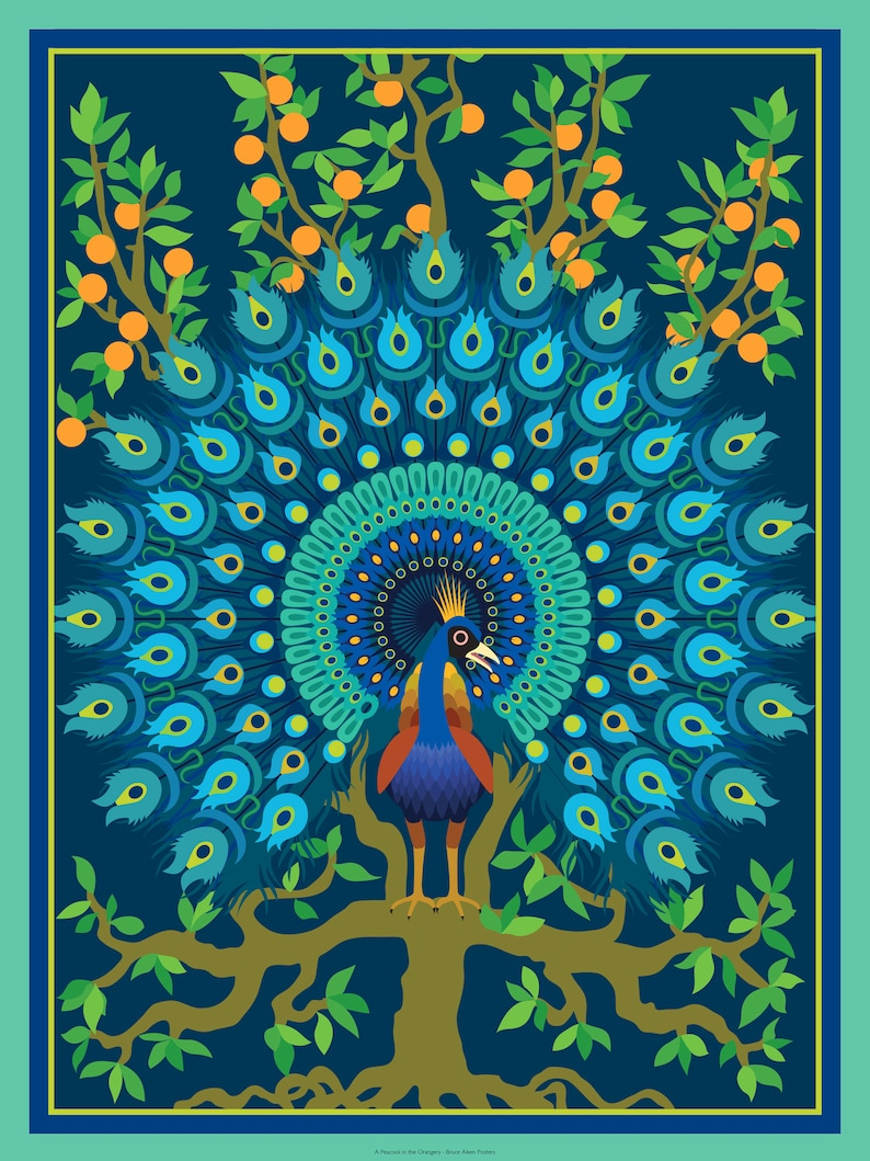 A Peacock in the Orangery  art deco poster with influences image 0