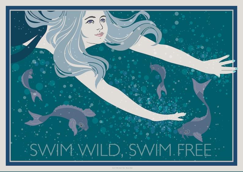Swim Wild Swim Free  original poster in the art deco / image 0
